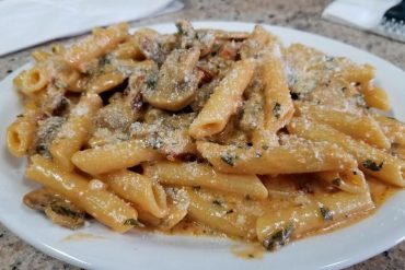 Our penne with rose sauce, mushrooms and sundried tomatoes is made fresh to order.